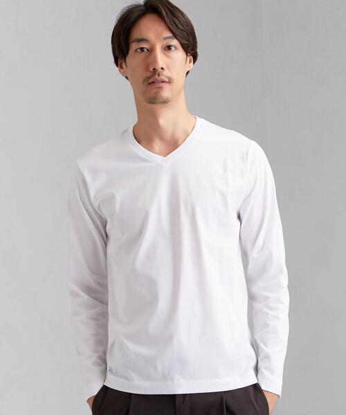 CM オーガニック クリア Vネック 長袖 Tシャツ