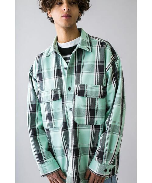 <monkey time> HEAVY CHECK TWILL OVER SIZED CPO/チェックシャツ