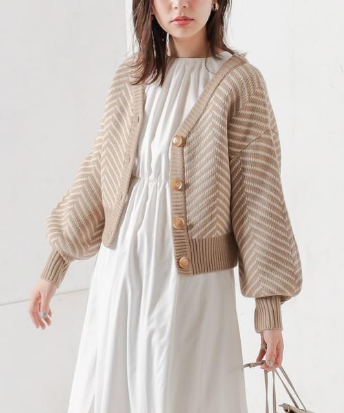 natural couture(ナチュラルクチュール)の「【WEB限定】ヘリンボーン前後2WAYカーディガン(カーディガン/ボレロ)」|ベージュ