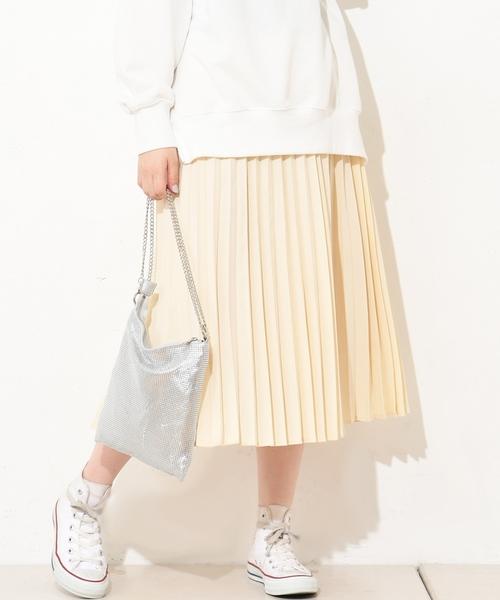 natural couture(ナチュラルクチュール)の「ジョーゼットプリーツスカート(スカート)」 アイボリー
