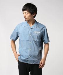 ELECTRONIC SERVICE pt 半袖オープンカラーシャツネイビー