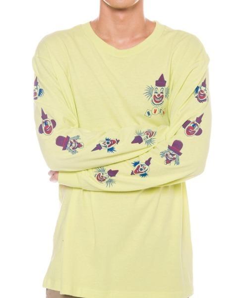 RVCA メンズ BIG TOP LS ロングスリーブTシャツ/ルーカ 長袖 ロンT 袖プリント ネオンカラー バックプリント