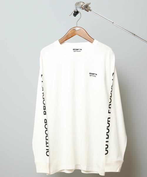 袖プリントロンT ロングTシャツ やや身幅をゆったり ブランドロゴ