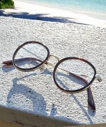 ROOPTOKYO(ループトウキョウ)のファッション用グラス べっ甲 ワイヤーフレーム ボストン型/ラウンド型 カラーレンズ UVプロテクト 伊達メガネ 丸眼鏡(サングラス)