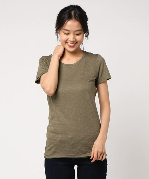 コットンモダールラウンドネック半袖Tシャツ・カットソー