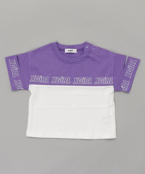 切替配色スリット半袖Tシャツ
