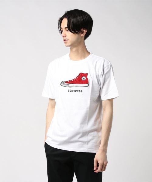 コンバース/CONVERSE シューズサガラ刺繍半袖Tシャツ