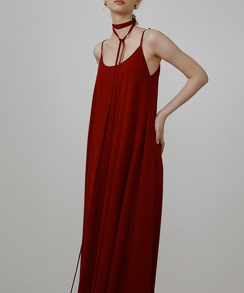 【UNSPOKEN】Ribbon design flare long dress UQ21L013