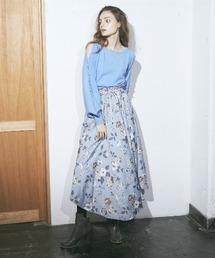花柄プリントスカートブルー