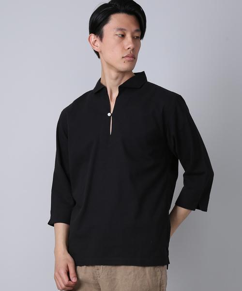 綿麻 7分袖カプリシャツ