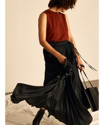 Mila Owen(ミラオーウェン)のアシンメトリーヘムプリーツギャザースカート(スカート)