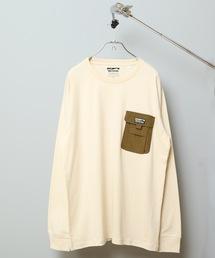 ポケットロンT ロングTシャツ やや身幅をゆったり 左胸に異素材のマチ付きポケットアイボリー