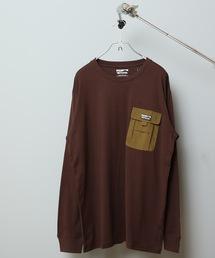 ポケットロンT ロングTシャツ やや身幅をゆったり 左胸に異素材のマチ付きポケットブラウン