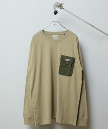 ポケットロンT ロングTシャツ やや身幅をゆったり 左胸に異素材のマチ付きポケットカーキ