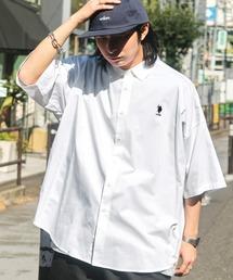 U.S. POLO ASSN. /ユーエスポロアッスン 別注 ワンポイント刺繍ロゴ オーバーサイズ SS レギュラーカラーシャツホワイト