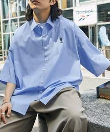 U.S. POLO ASSN. /ユーエスポロアッスン 別注 ワンポイント刺繍ロゴ オーバーサイズ SS レギュラーカラーシャツブルー