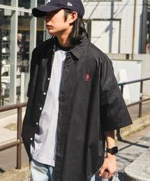 U.S. POLO ASSN. /ユーエスポロアッスン 別注 ワンポイント刺繍ロゴ オーバーサイズ SS レギュラーカラーシャツブラック
