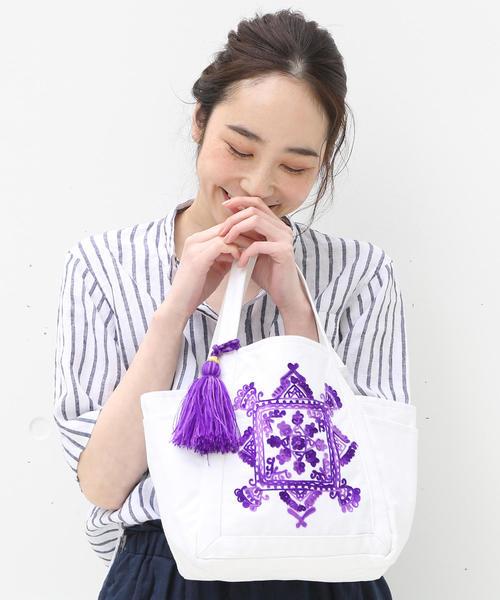 【Market】エンブロイダリー刺繍トートバッグ Sサイズ