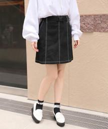 Heather(ヘザー)のベルトツキステッチミニスカート 823153(スカート)