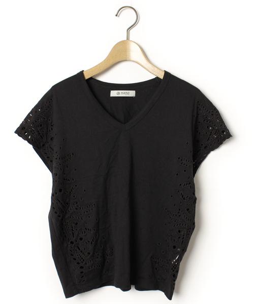 nano・universe(ナノユニバース)の古着「半袖カットソー(Tシャツ/カットソー)」|ブラック