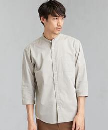 CM コードドビー バンドカラー 7分袖シャツ