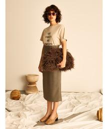 Mila Owen(ミラオーウェン)のウエストシャーリングタイトスカート(スカート)