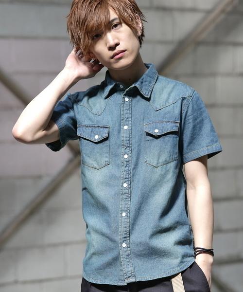 REPIDO(リピード)の「デニムシャツ半袖(シャツ/ブラウス)」 ブルー