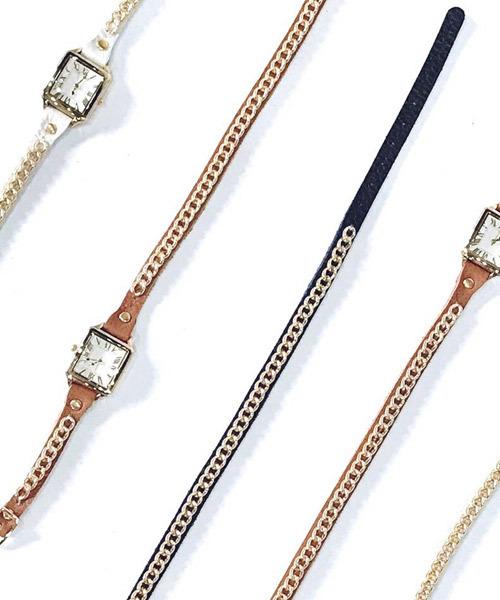 本革チェーンデザイン細ベルト腕時計