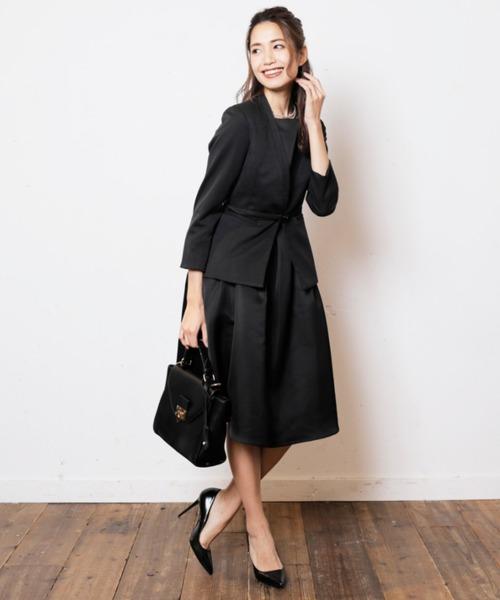 DRESS LAB(ドレスラボ)の「ジャケット ワンピース セットアップ フォーマル スーツ ベルト付き【3点セット】結婚式(セットアップ)」 ブラック