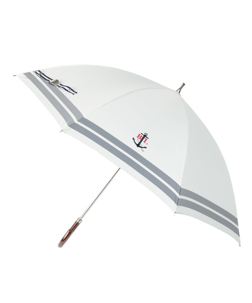 POLO RALPH LAUREN(ポロラルフローレン)の「日傘 【ボーダー×ワンポイントモチーフ】(長傘)」|オフホワイト