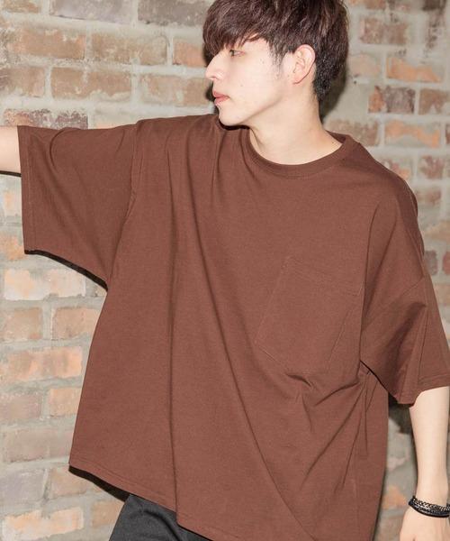 【BASQUE -enthusiastic design-】BIGポケットスーパーオーバーサイズドロップショルダーTシャツ