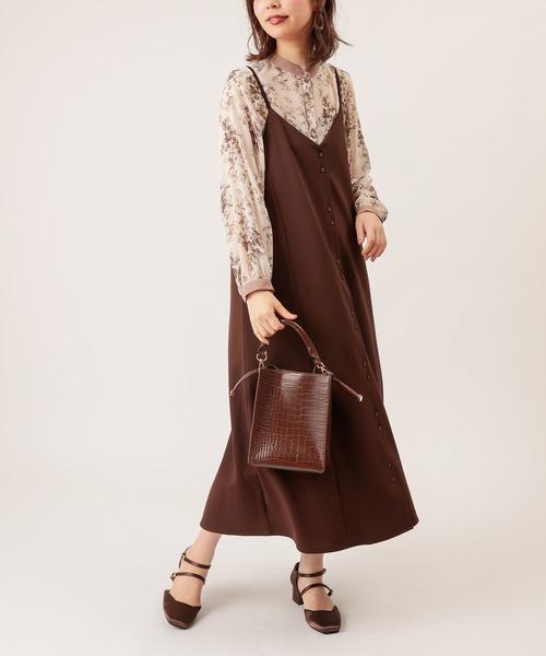 natural couture(ナチュラルクチュール)の「モクロディフレアキャミワンピース(ワンピース)」 ダークブラウン