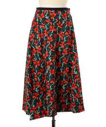 Drawer フラワープリントフレアスカート