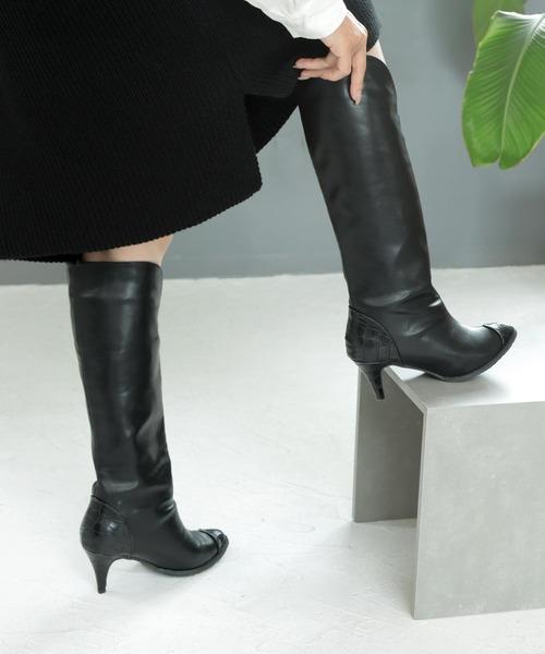 SOROTTO(ソロット)の「ウエスタンロングブーツ(ブーツ)」 ブラック