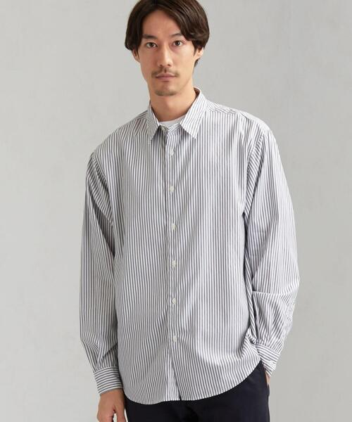CM ドビーストライプ ジャストルーズ レギュラーカラー 長袖シャツ