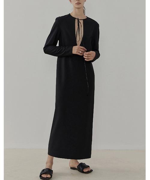 【UNSPOKEN】Plunging neck dress UC21L007