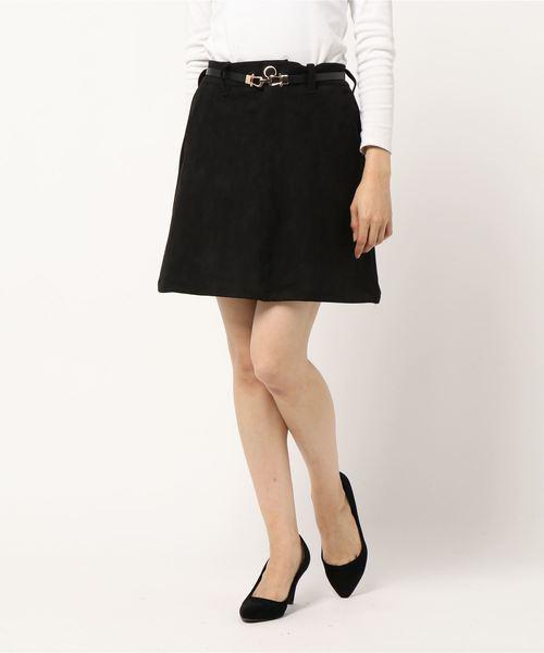 スエードポンチ台形スカート