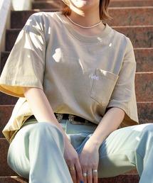 Lee/リー LOGO POCKET S/S TEE ロゴ刺繍ポケット半袖Tシャツベージュ系その他