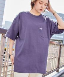 Lee/リー LOGO POCKET S/S TEE ロゴ刺繍ポケット半袖Tシャツライトパープル