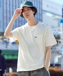 Lee/リー LOGO POCKET S/S TEE ロゴ刺繍ポケット半袖Tシャツオフホワイト