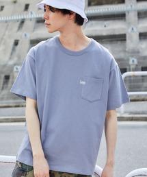 Lee/リー LOGO POCKET S/S TEE ロゴ刺繍ポケット半袖Tシャツブルーグレー