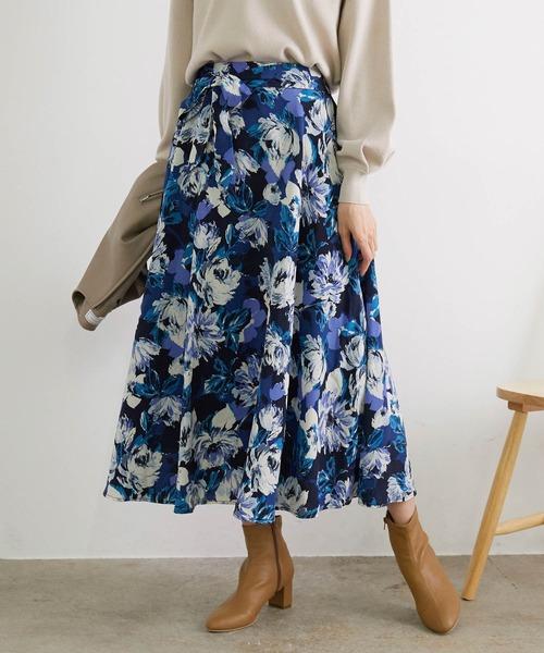 ROPE' PICNIC(ロペピクニック)の「ビッグフラワーロングスカート(スカート)」|サックスブルー