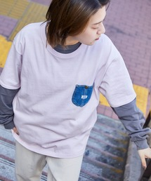 Lee/リー DENIM POCKET S/S TEE ロゴピスネーム デニムポケット半袖Tシャツラベンダー