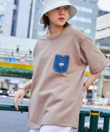 Lee/リー DENIM POCKET S/S TEE ロゴピスネーム デニムポケット半袖Tシャツベージュ系その他