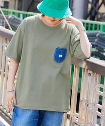 Lee/リー DENIM POCKET S/S TEE ロゴピスネーム デニムポケット半袖Tシャツグリーン系その他