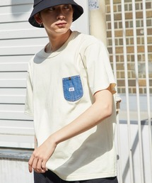 Lee/リー DENIM POCKET S/S TEE ロゴピスネーム デニムポケット半袖Tシャツホワイト