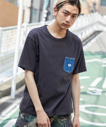 Lee/リー DENIM POCKET S/S TEE ロゴピスネーム デニムポケット半袖Tシャツブラック
