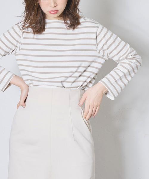 natural couture(ナチュラルクチュール)の「便利なベーシックボーダーT(Tシャツ/カットソー)」|ベージュ