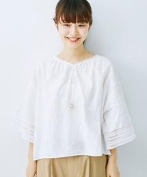 haco!(ハコ)の着るほどになじむ 綿麻素材の袖レーストップス(シャツ/ブラウス)