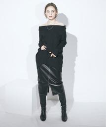 エコレザータイトスカートブラック